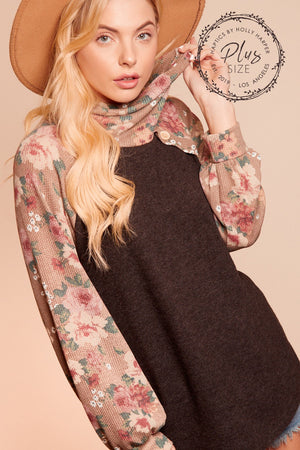 Plus Black & Taupe Floral Turtleneck Raglan Blouse