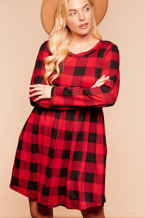Red & Black Plaid Babydoll Swing Pocketed Dress