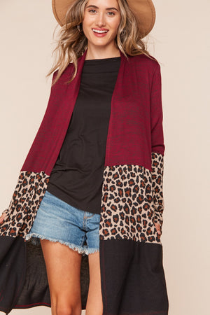 Burgundy Animal Print Color Block Cardigan 5 pcs
