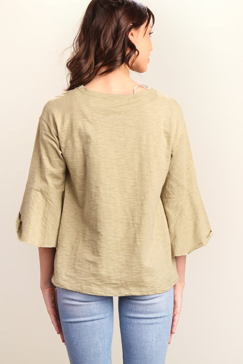 Olive Bull Head Floral Bell Sleeve Top