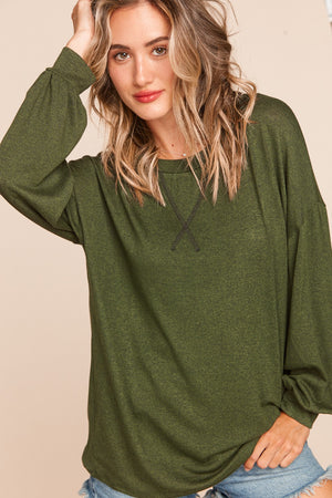 Olive Two Tone Hacci Long Sleeve Blouse