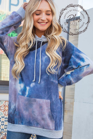 Plus Navy & Purple Tie Dye Raglan Zipper Hoodie