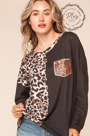 Plus Animal Sequins Pocket Color Block Blouse