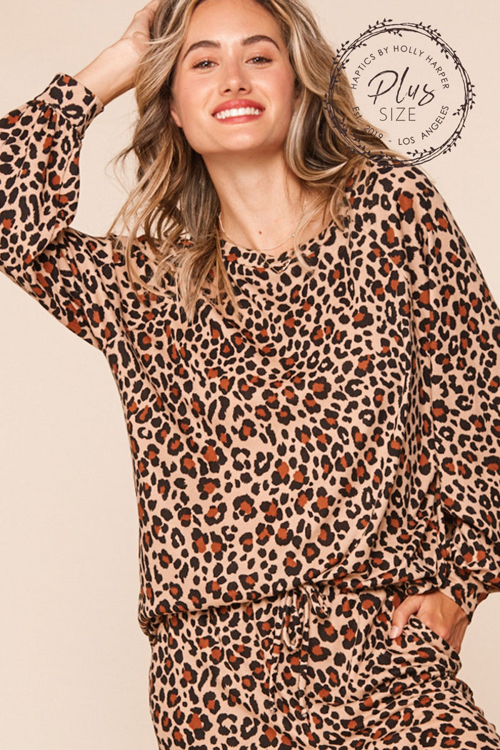 Plus Taupe Animal Print Bubble Sleeve Blouse 2-1-1