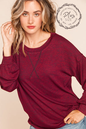 Plus Burgundy Two Tone Hacci Long Sleeve Blouse