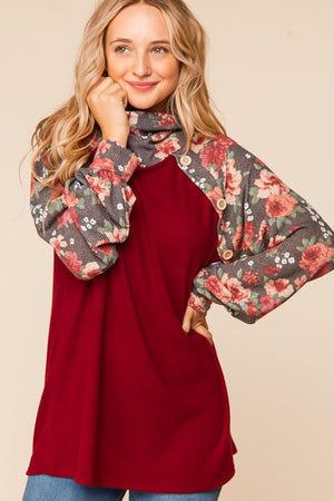 Burgundy & Charcoal Turtleneck Raglan Blouse