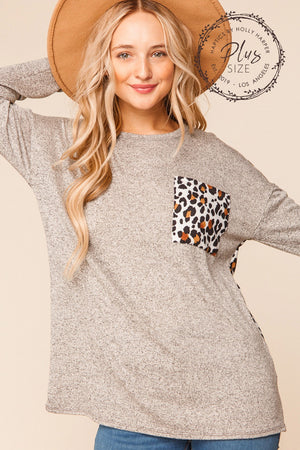 Plus Oatmeal & Taupe Animal Print Pocket Slouchy Blouse