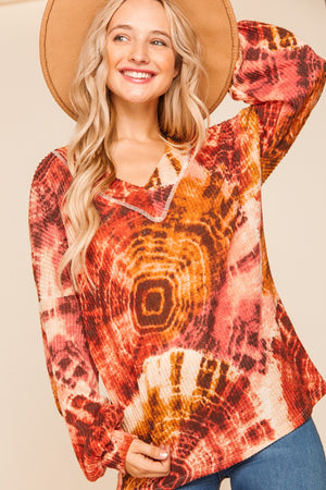 Rust Tie Dye Brushed Waffle Loose Blouse