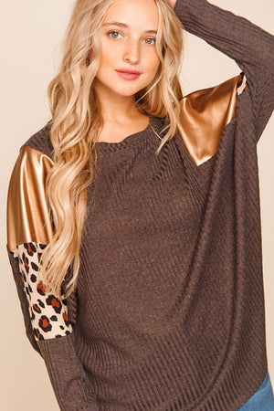 Plus Charcoal & Gold Animal Print Dolman Blouse