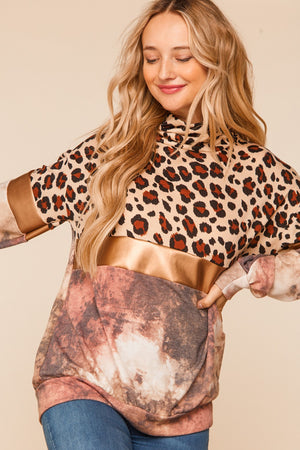 Gold & Taupe Animal Print Foil Tie Dye Color Block Blouse