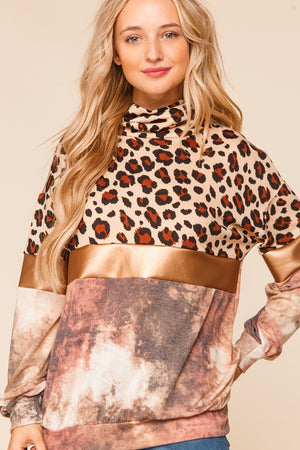 Plus Gold & Taupe Animal Print Foil Tie Dye Color Block Blouse