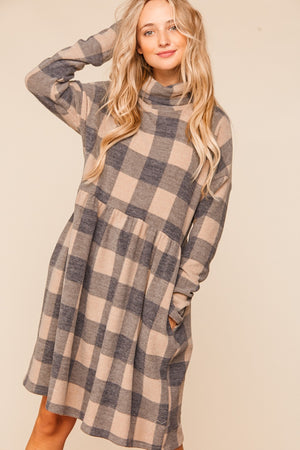 Plus Black & Mocha Plaid Turtle Neck Babydoll Dress