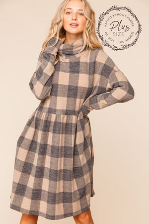 Plus Mocha & Black Plaid Turtleneck Babydoll Midi Dress