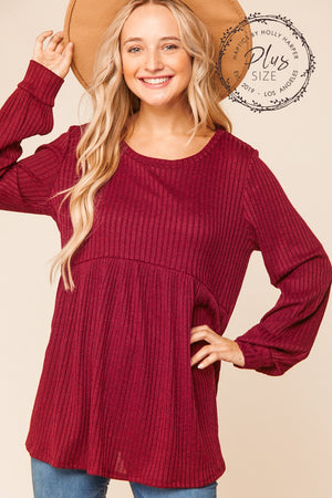 Plus Wine Hacci Rib Babydoll Bubble Sleeve Blouse