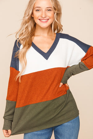 Navy & Rust Olive Color Block Blouse