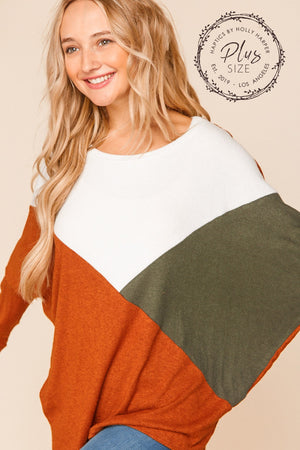 Plus Rust Olive & Ivory Color Block Dolman Blouse