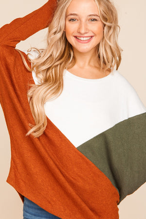 Rust Olive & Ivory Color Block Dolman Blouse