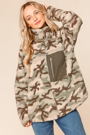Olive Camo Sherpa Zip Up Front Pocket Jacket