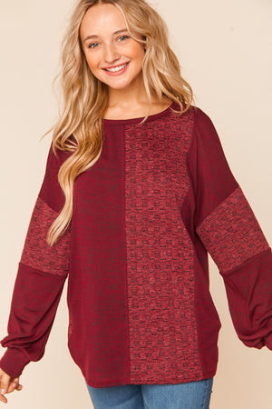 Burgundy Two Tone Hacci Brushed Jacquard Sweater