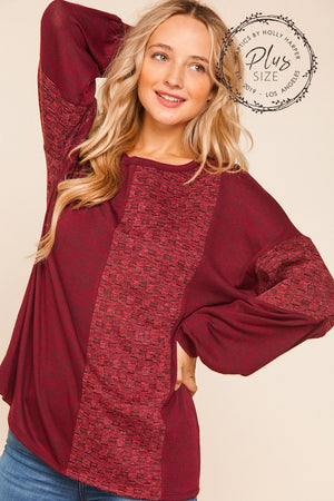 Plus BurgundyTwo Tone Hacci Brushed Jacquard Sweater