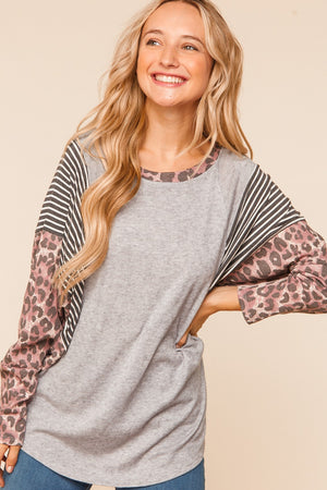 Grey & Purple Animal Print Dolman Blouse