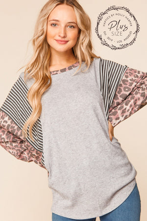 Plus Plus Grey & Purple Animal Print Dolman Blouse
