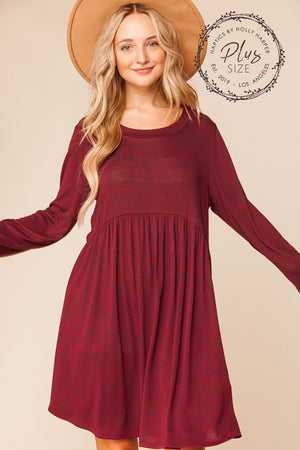 Plus Burgundy Hacci Two Tone Babydoll Swing Pocketed Dress