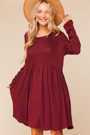 Burgundy Hacci Two Tone Babydoll Swing Pocketed Dress