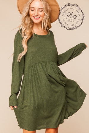 Plus Olive Hacci Two Tone Babydoll Swing Pocketed Dress
