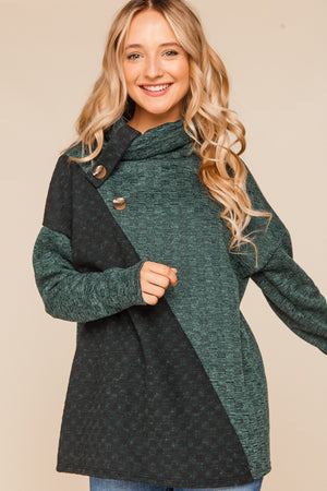 Hunter Green & Black Asymmetrical Color Block Sweater