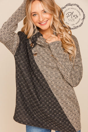 Plus Taupe & Black Asymmetrical Color Block Sweater