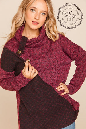 Plus Burgundy & Black Asymmetrical Color Block Sweater