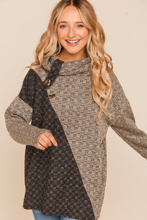 Taupe & Black Asymmetrical Color Block Sweater
