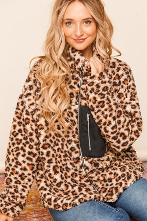 Taupe Front Pocket Animal Print Sherpa Zip Up Jacket