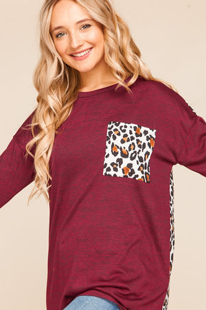 Plus Burgundy Animal Print Pocket Slouchy Blouse