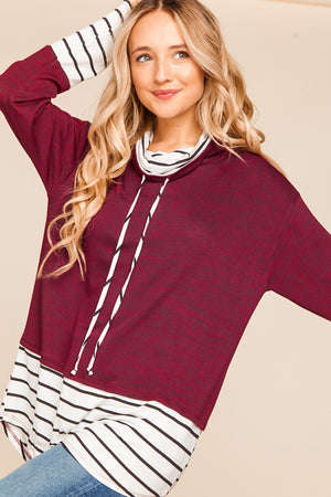 Burgundy Solid Stripe Color Block Two Tone Hacci Blouse