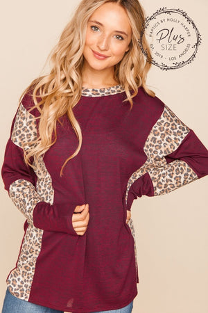 Plus Burgundy Animal Print Color Block Sleeve Blouse