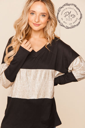 Plus Black & Silver Vneck Crinkle Foil Color Block Blouse (3 pcs)