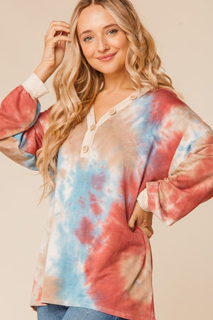 Marsala Denim & Stone Tie Dye V Neck Button Blouse