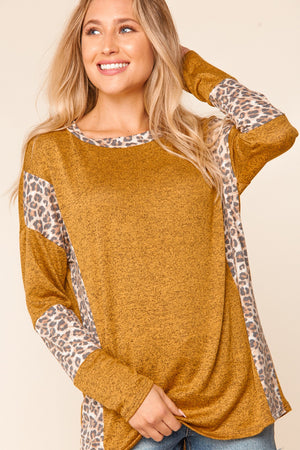 Plus Butterscotch Animal Print Color Block Sleeve Blouse