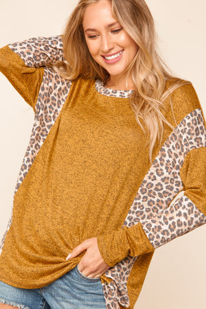 Butterscotch Animal Print Color Block Sleeve Blouse