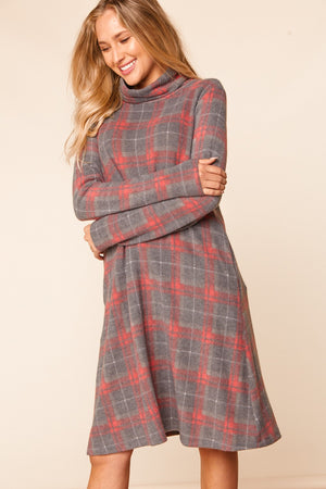 Charcoal & Red Plaid Turtle Neck Midi Dress (5 pcs 2-1-2)
