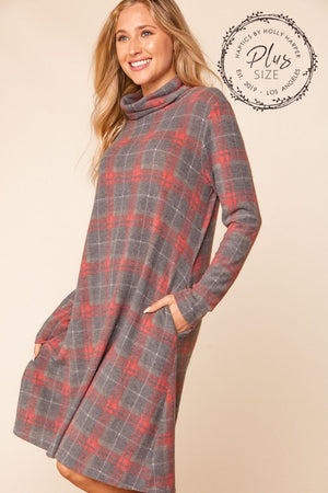 Plus Charcoal & Red Plaid Turtle Neck Midi Dress