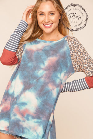 Plus Marsala & Taupe Navy Tie Dye Animal Print Raglan Blouse