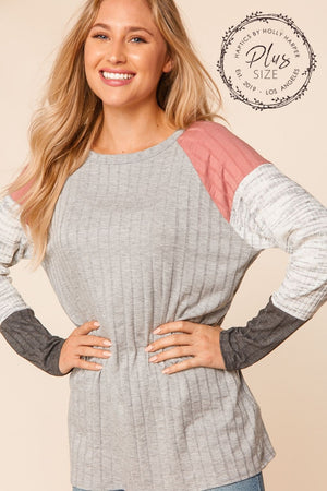 Plus Heather Grey & Mauve Ribbed Raglan Color Block Sleeve Blouse