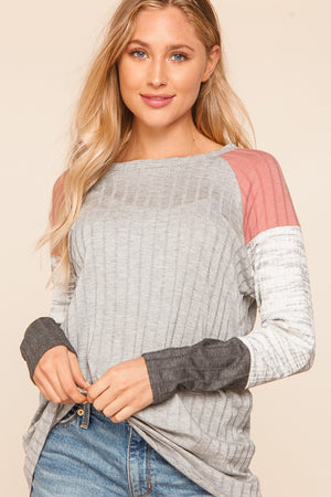 Heather Grey & Mauve Ribbed Raglan Color Block Sleeve Blouse