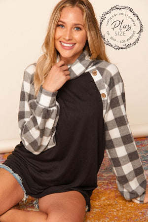 Plus Black & Ivory Plaid Turtle Neck Raglan Button Blouse