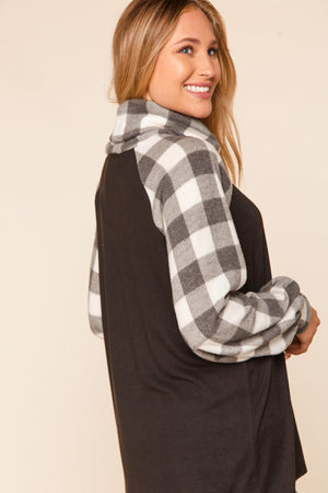 Black & Ivory Plaid Turtle Neck Raglan Button Blouse