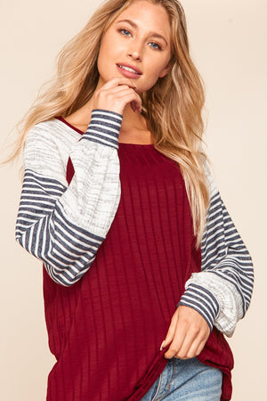 Burgundy & Ivory Ribbed Slub Stripe Color Block Raglan Blouse