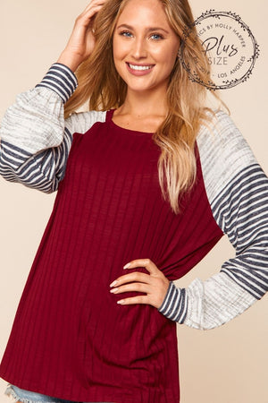 Plus Burgundy & Ivory Ribbed Slub Stripe Color Block Raglan Blouse